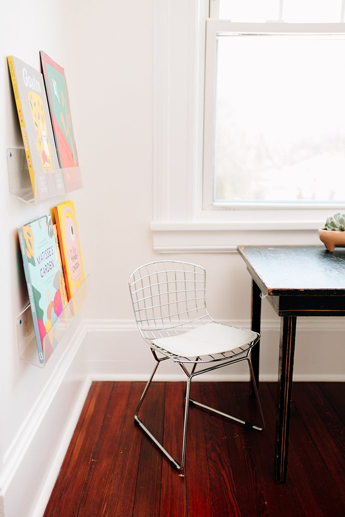 Mini mid-century grid chair for a child's room