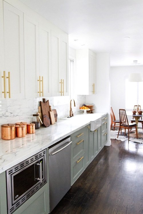 The Kitchen Is A Great Place To Start With Mixed Metals Here Becki Owens Combined Gold Cabinet Hardware Stainless Steel Liances Bronze Faucet And